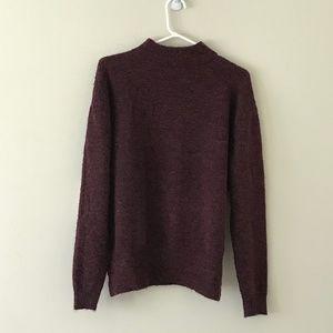 Burgundy Confetti Mock-neck Pullover Sweater